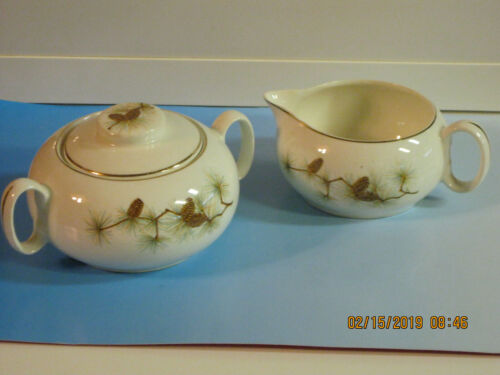 W.S. George, Ceramic LIDDED SUGAR BOWL & CREAMER, PINECONES w/Branches, 1950