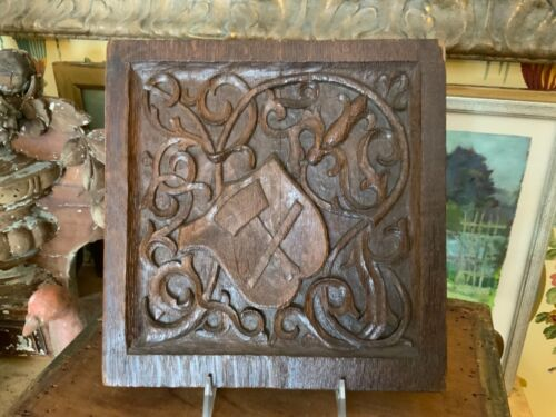 Antique English Wood Hand Carved Fragment Pediment Plaque Circa 1880 Signed