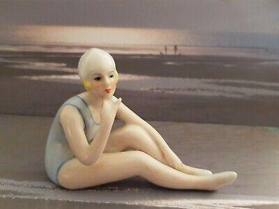 SUPER ART DECO 1920's STYLE PORCELAIN BATHING LADY FIGURINE PIN CUSHION DOLL