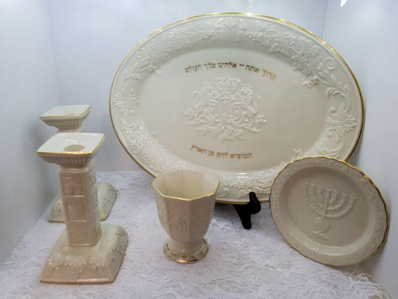 Lenox China-Shabbat set w/ Challah tray, candlesticks, kiddush cup, sweet dish
