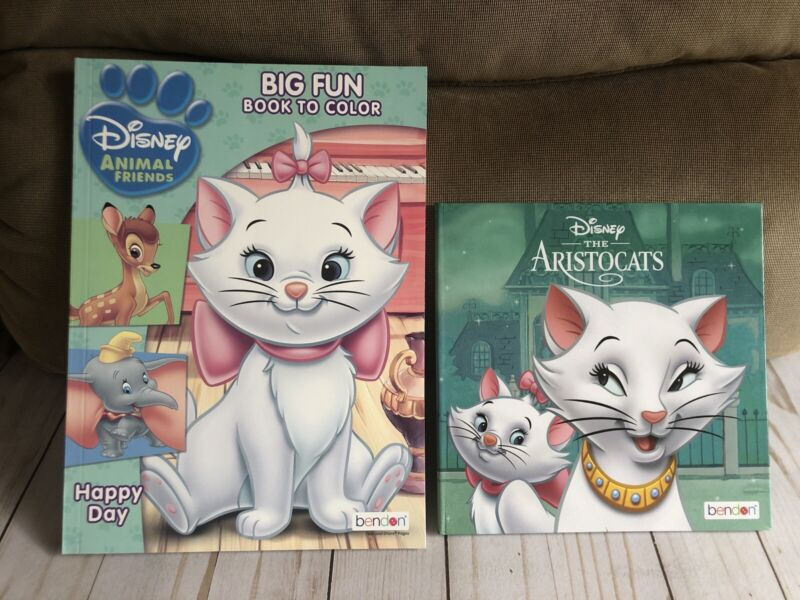 Marie Aristocats Disney Animal Friends Coloring Book + Hardcover Storybook New