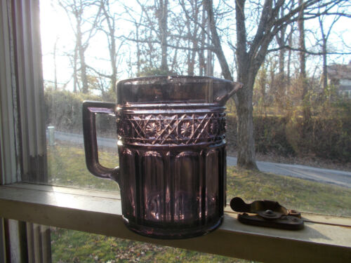 """1880s ANTIQUE PANELED AMETHYST GLASS 6"""" WATER PITCHER PRESSED PATTERN"""