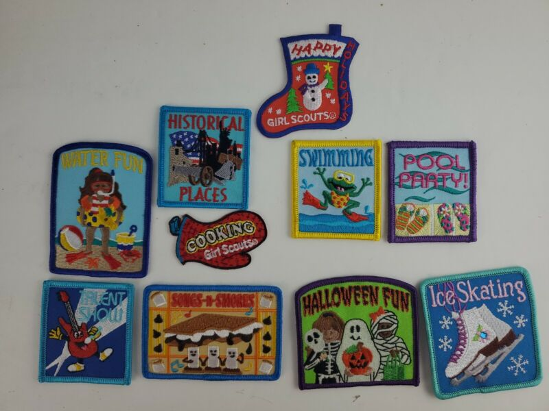 Lot of 10 Assorted Girl Scouts Brownie Patches UNUSED Halloween Summer Holidays