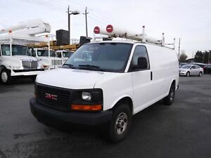 2007 GMC Savana G3500 Cargo Van with Ladder Rack and Rear Shelvi