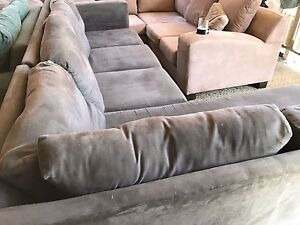 Grey suede Corner Lounge chaise Plumpton Blacktown Area Preview