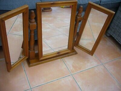 Vintage solid pine dressing table on stand with 3 mirrors