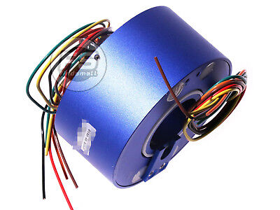 New 6wires 380v Acdc 10a 38.1mm Dia Metal Capsule Conductors Slip Ring Blue