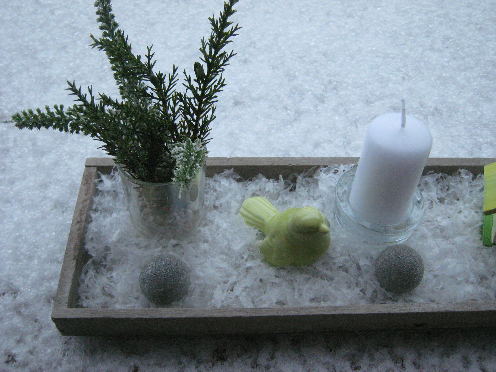 winter deko schnee dekoschale holzschale mit kerzen. Black Bedroom Furniture Sets. Home Design Ideas