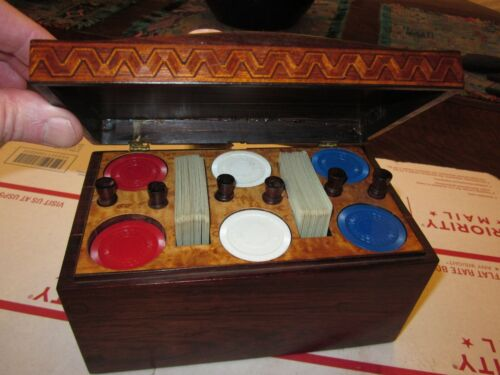 antique inlaid poker chip card chest / box fitted