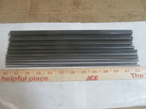 """(10) ASSORTED SIZES OF HEX 12L14 STEEL BAR STOCK 12"""" LONG, 1/8"""" TO 5/8"""""""