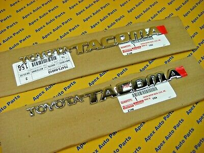 2 Toyota Tacoma Front Door Emblems Chrome OEM Genuine 1995-2004 Left and Right