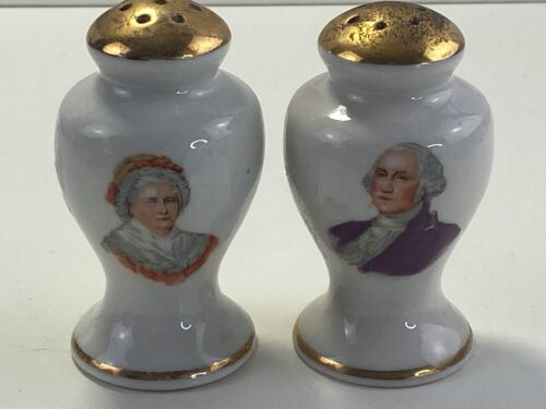 "Vintage George Washington & Martha Washington Salt &Pepper Shakers 2-1/2"" TALL"