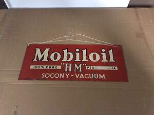Vintage Mobil oil sign gas oil cans collectibles