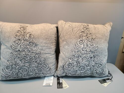 Lot Of 2 Bee Willow Home Vintage Tree Textured Square Throw Pillow In Grey For Sale Online