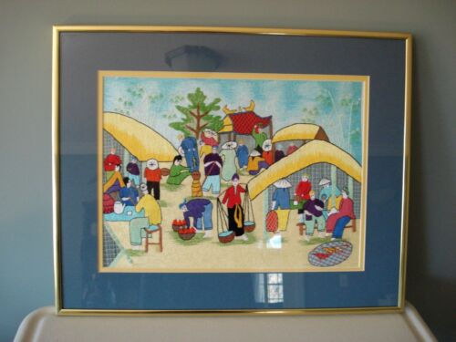 Asian Silk Art Embroidered Picture Matted & Framed