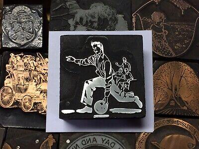 Antique Vtg Wood Metal Man Bowling Letterpress Print Type Cut Ornament Block