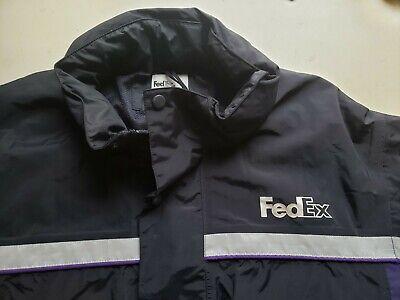 FedEx Stan Herman Men's XXL Full Zip Hooded Reflective Rain Windbreaker Jacket