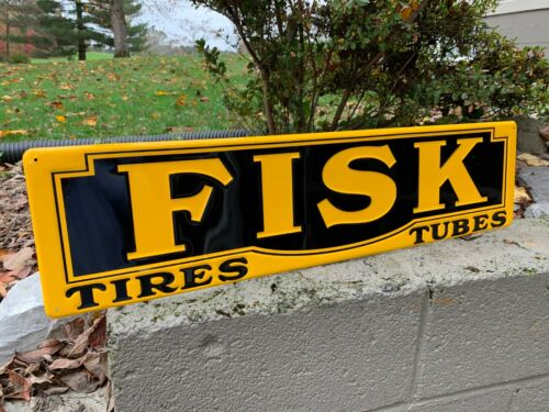 """""""FISK TIRES & TUBES"""" EMBOSSED METAL SIGN, (29.5""""x 7.5"""") MINT CONDITION (NOS)"""