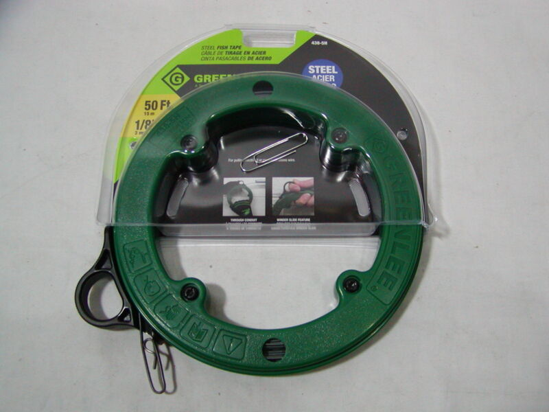 (1) NEW Greenlee 438-5H Steel Fish Tape 50 foot 1/8""
