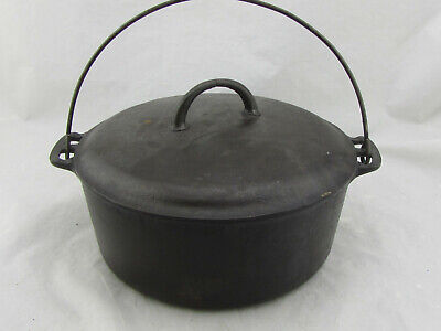 VTG Griswold Erie No 9 Cast Iron Dutch Oven With Handle and Lid 2552 Read