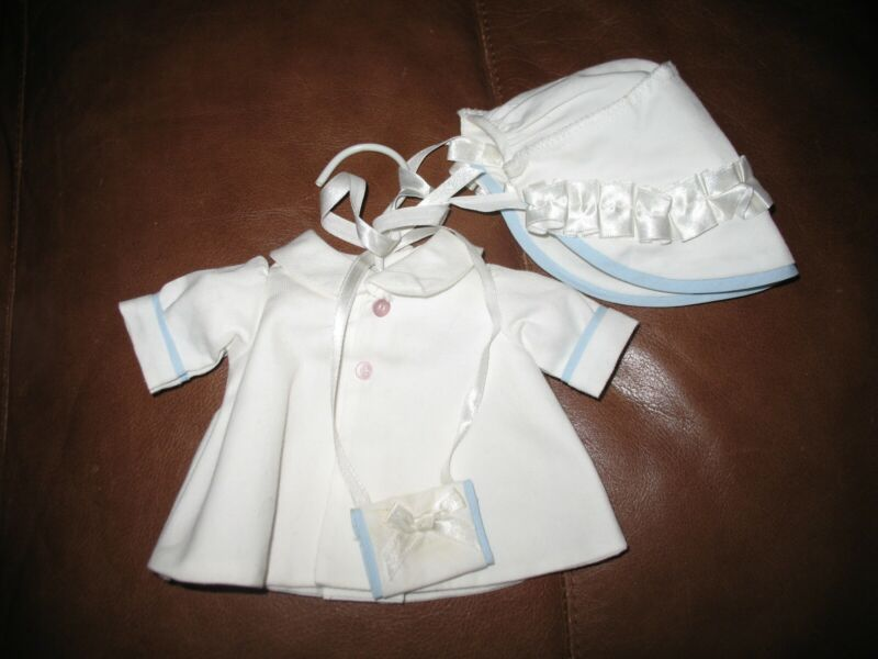 Vintage Handmade Doll Coat & Hat & Muff & Small Padded Hanger.  White/Blue.