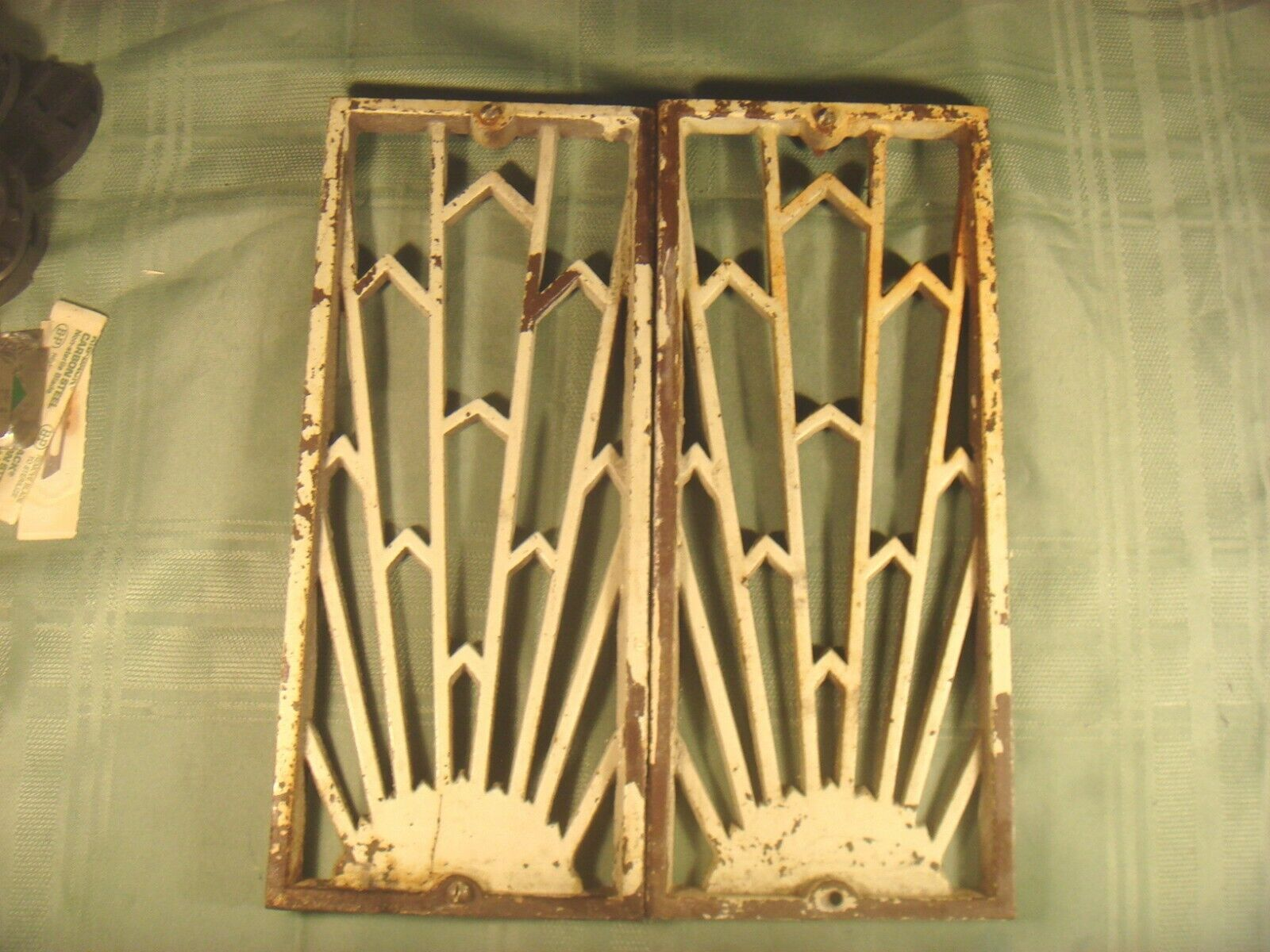 2 VINTAGE CASTIRON CATHEDRAL-STYLE HEATER VENTS/GRATES, ARCHITECTURAL SALVAGE - $29.99