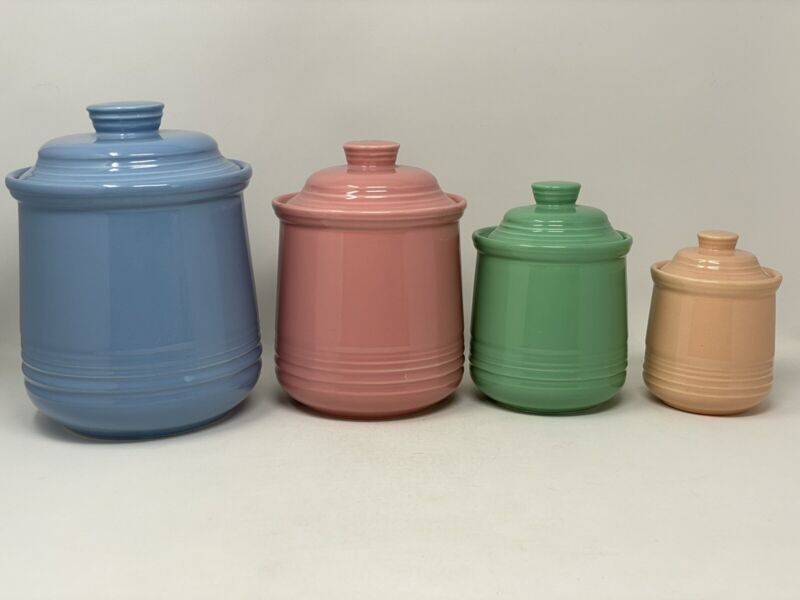 Vintage Pottery Canister Set of 4 Colorful Canisters Pastel Colors MINT Japan