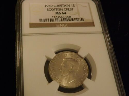 1939     Great Britain      silver shilling   Scottish crest  NGC MS 64
