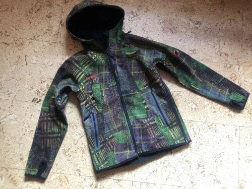 😎 MAMMUT dünne Marken Kinder Freizeit Softshell Jacke grün gelb Gr.S 140 146 😎