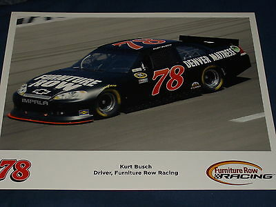 2012 Kurt Busch  78 Furniture Row Racing Bb Nascar Postcard