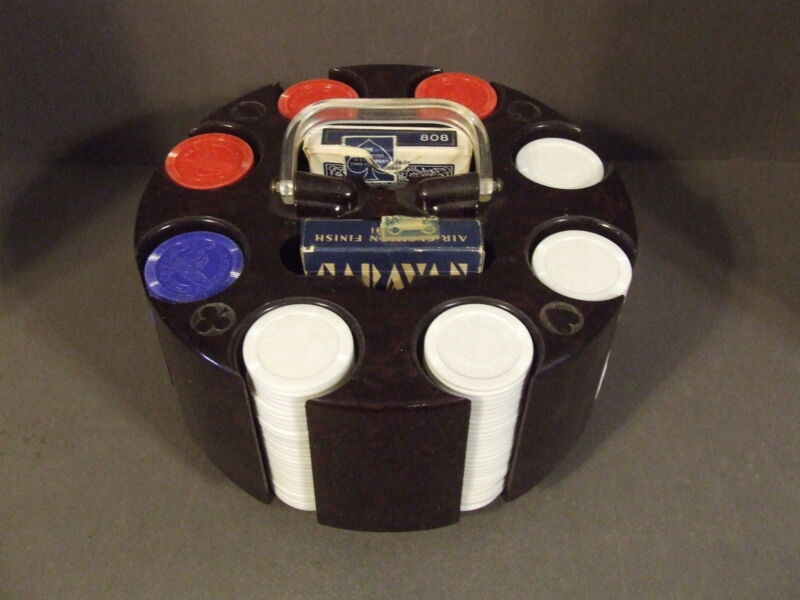VINTAGE 8 SLOT SPINNING POKER CHIP SPINNING CAROUSEL WITH CHIPS