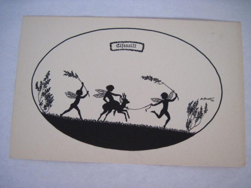 Delightful Vintage Postcard w/ Fairies in Silhouette Signed by Elsbeth Frock *