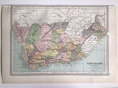 Cape Colony, Natal, Africa 1874 Original Antique Map Bartholomew, Philip, Atlas