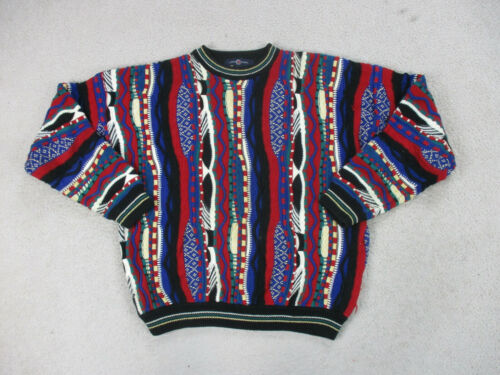 Cotton Traders Sweater Adult Large Blue Red Biggie MacGregor Cosby Mens 90s *