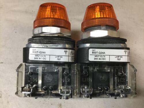 Allen-Bradley 800T-Q24A Amber Pilot Light 24 Volt AC/DC-Lot of 2