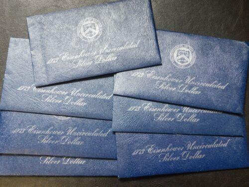 Lot of 7 1973-S Uncirculated Silver 40% Eisenhower BLUE IKE Dollar US Mint,COA