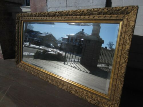 "Antique Gold Gesso Beveled Victorian Mirror all original - Large - 24"" x 46 1/2"""