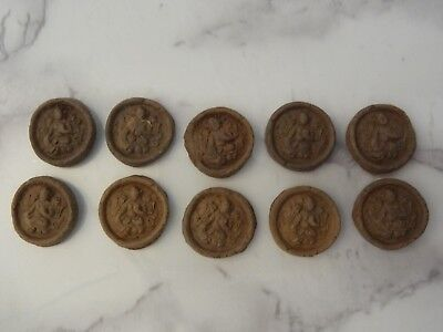 ANTIQUE  TIBETAN BUDDHIST MINIATURE CLAY TSA TSA Green Tara LOTS 10 PC