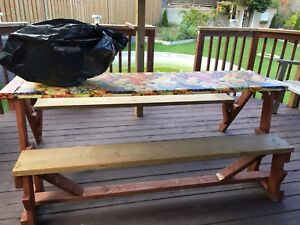Patio deck table converts to bench