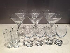 Various glassware - nespresso lungo glasses, martini and shot glasses Kings Cross Inner Sydney Preview