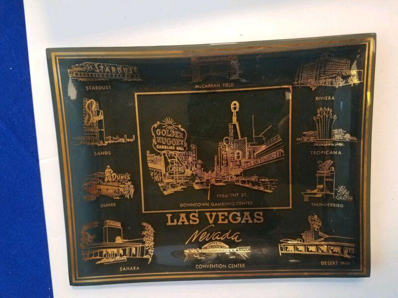 Beautiful Vintage Smoked Glass Ashtray Hotel Casinos Downtown Las Vegas Strip