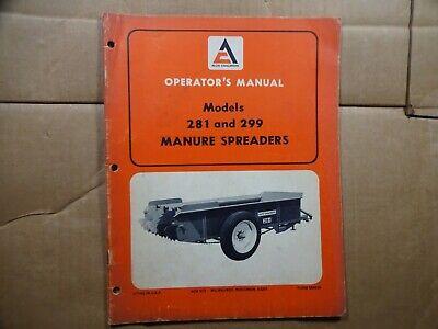 Allis Chalmers Model 281 And 299 Manure Spreader Operators Manual