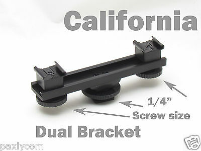 hot shoe extension bar mount dual bracket