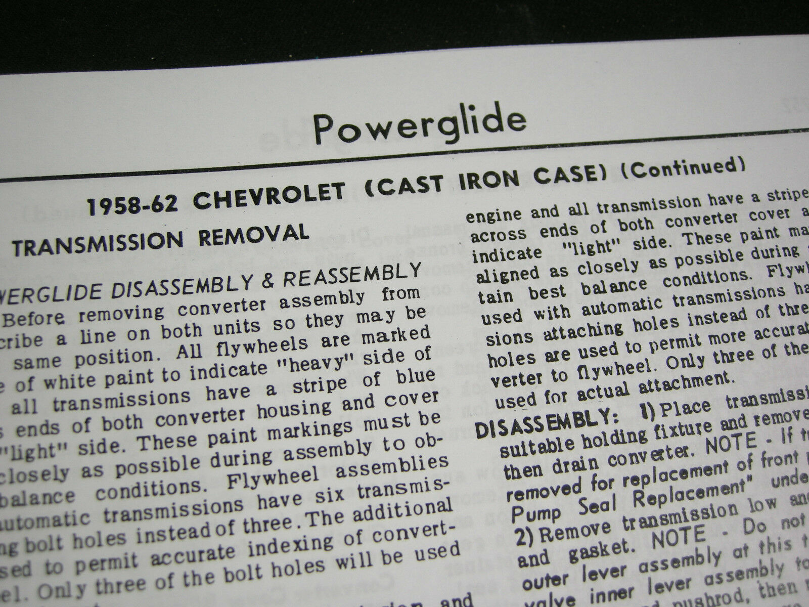 1958 62 Cast Iron Powerglide Shop Service Manual Overhaul Rebuild