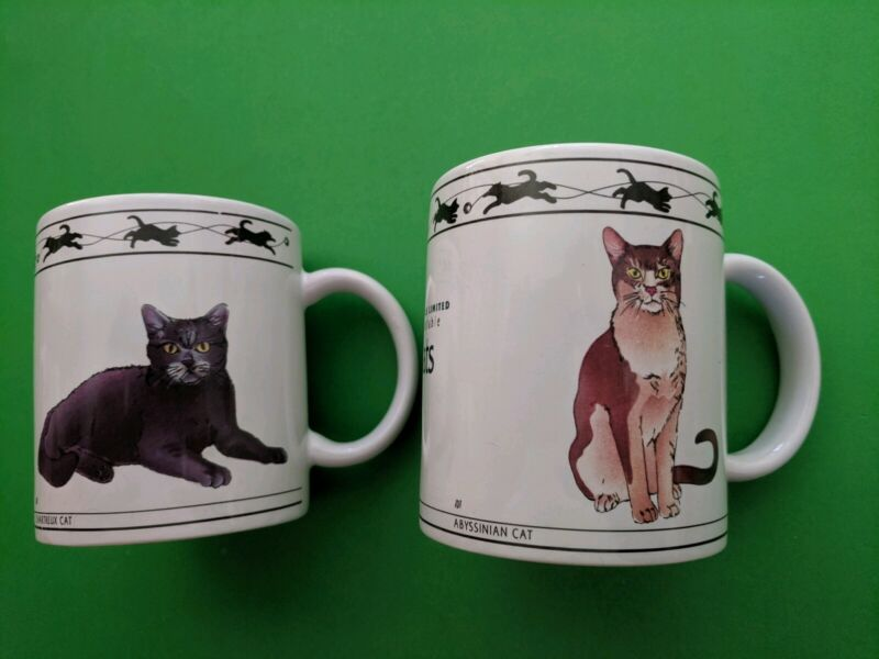 SET OF 2 -CAT LOVER LIMITED COFFEE MUGS- NEW!