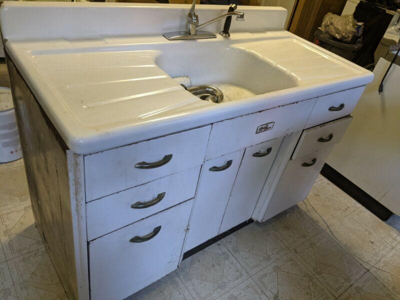 Antique Cast Iron Farmhouse Sink 54Lx25Wx36H