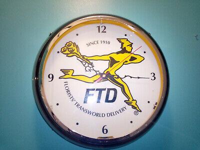 Vintage 1990s Rare FTD Advertising Neon Quartz Clock