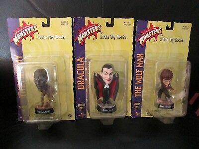 3 Little Big Heads Halloween Sculptures Wolf Man Werewolf Dracula Mummy Monsters - 3 Headed Wolf Halloween