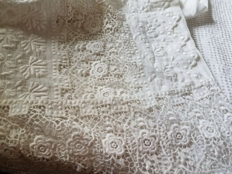 Antique Lace Lay Over Pillow Sham Cover Bed Spread Topper Ayrshire Embroidered