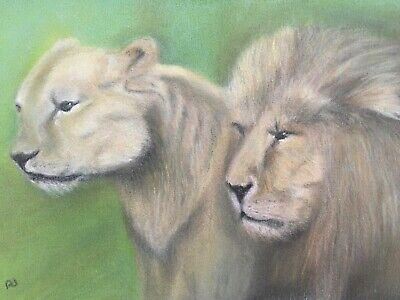 Lion and Lioness ORIGINAL pastel painting 8 x 6 signed